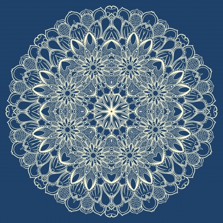 round pattern with abstract flowers on a blue background Vector