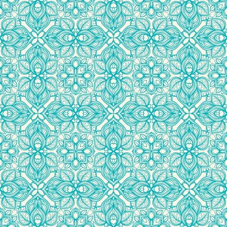 floral turquoise pattern with leaves, flowers and hearts Vector