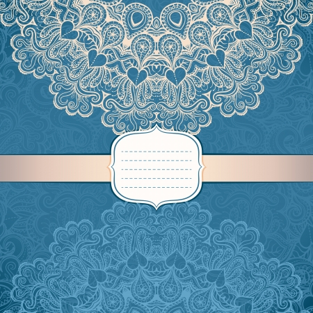 elegant card with a circular ornament in vintage style on the lace pattern background Vector