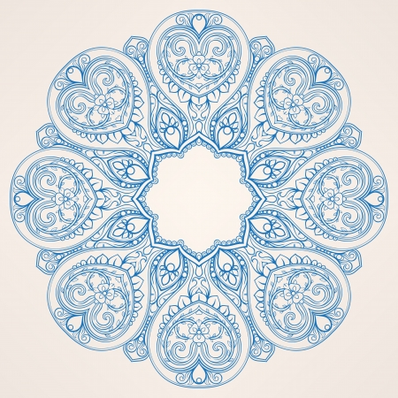 round nature blue abstract pattern with flowers and hearts on a beige background