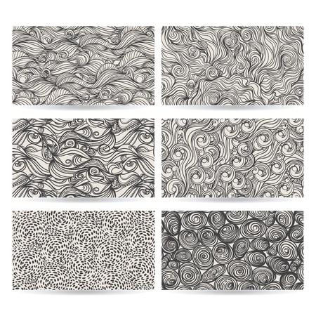 hand drawn set of six abstract gray patterns Vector