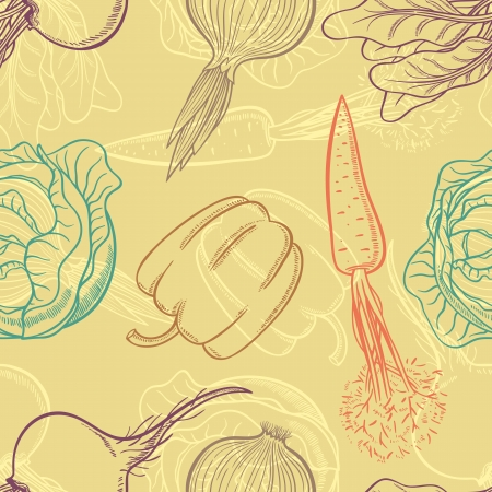 beets: Seamless background with vegetables  peppers, carrots, onions, beets, cabbage Illustration