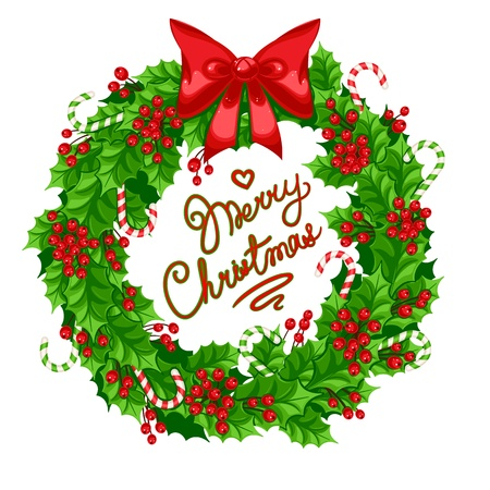 beautiful Christmas wreath of holly with bow, candy and greeting Vector