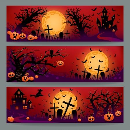tombes: Ensemble de trois belles banni�res pour Halloween avec des tombes, le mal des citrouilles et des arbres Illustration