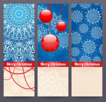 Set of three beautiful Christmas banners with holiday toys and snowflakes Vector