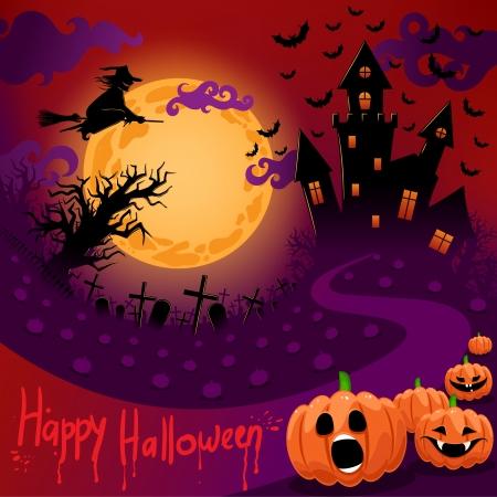 boom halloween: mooie poster voor Halloween met een spookachtige kasteel in het maanlicht