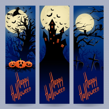 Set of three beautiful vertical banners for Halloween with place for text Vector