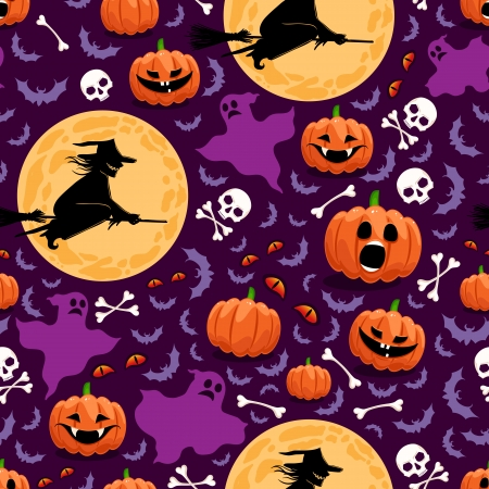 seamless background for Halloween with pumpkins, witches and ghosts Illustration