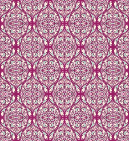 beautiful purple turquoise pattern with flowers and leaves on a beige background Vector