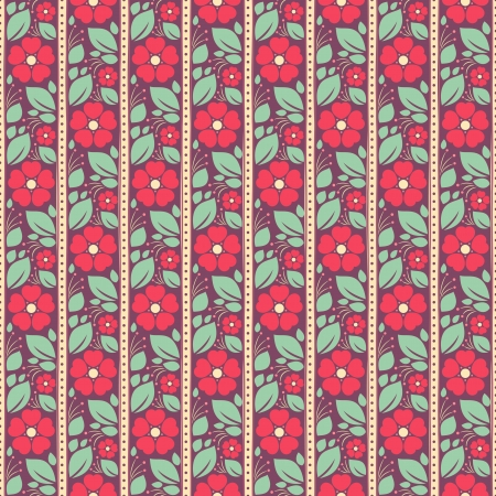 Seamless striped pattern with pink flowers and leaves on a purple background Vector