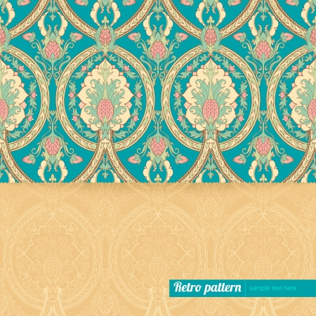 beautiful turquoise orange background with retro pattern with pineapples and place for text Vector