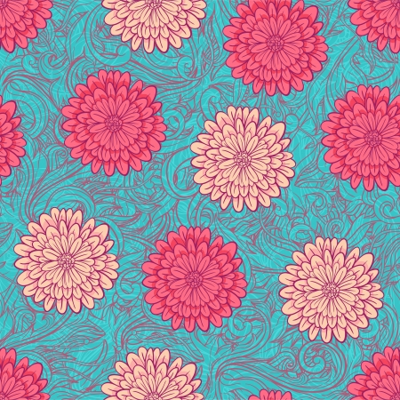 Beautiful seamless background with pink chrysantemums and turquoise leaves