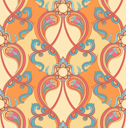 beautiful natural seamless retro blue and pink pattern on a orange background Vector