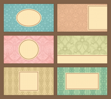 Set of six business cards with retro pattern and place for text Vector
