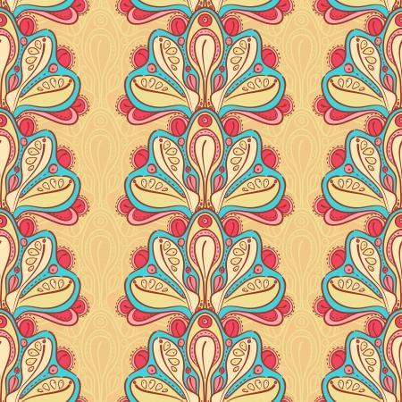 behang blauw: naadloze abstracte natuurlijke gele achtergrond met bloemen Stock Illustratie