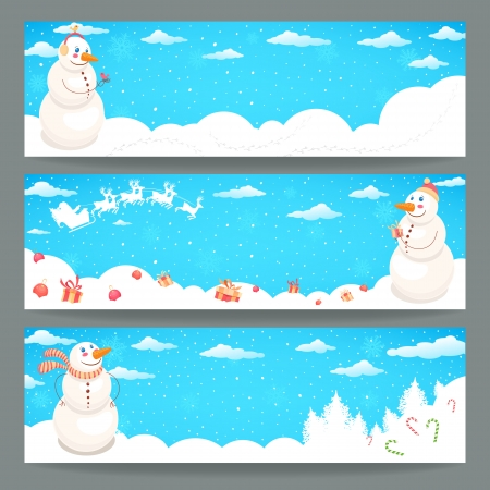 Three Christmas banner with funny cute snowman and a place for text Vector