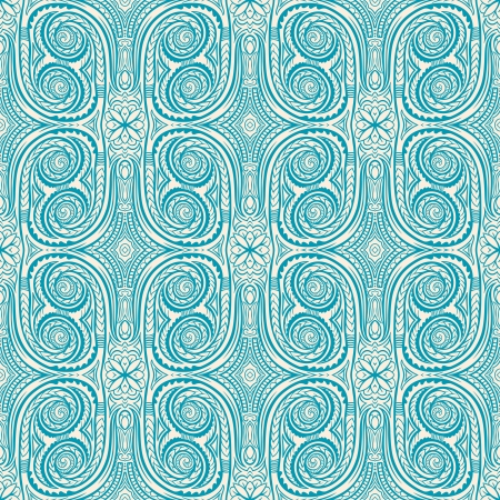 beautiful natural vertical abstract retro pattern with blue flowers and swirls Vector