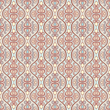 beautiful retro blue and brown background with a abstract floral pattern Vector