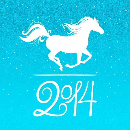 new year card with a symbol of the coming year - the horse Vector