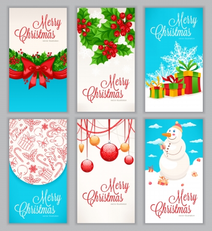 Set of six beautiful cards for the new year and Christmas with place for text Vector