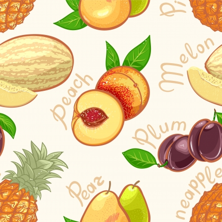 seamless background with juicy summer exotic fruits Vector