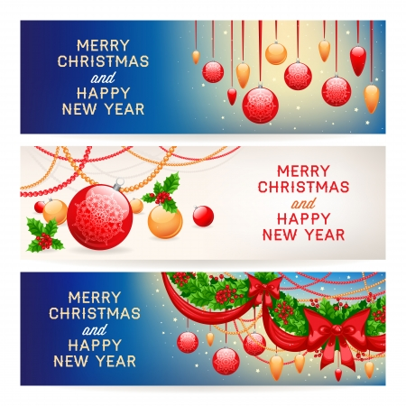 three beautiful New Year banners with Christmas decorations and place for text Vector