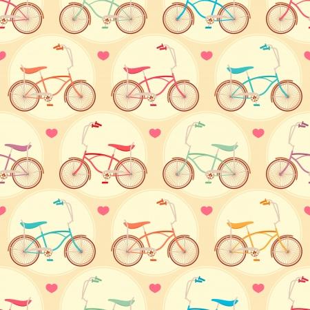 naadloze leuke achtergrond met gekleurde fietsen en roze harten