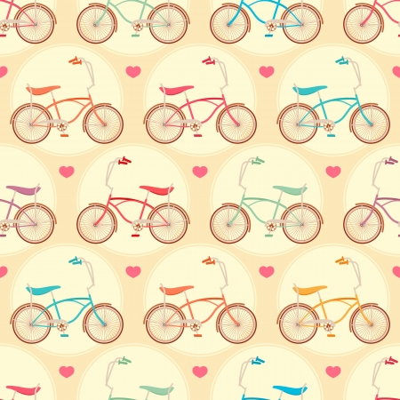 seamless cute background with colored bicycles and pink hearts Illustration
