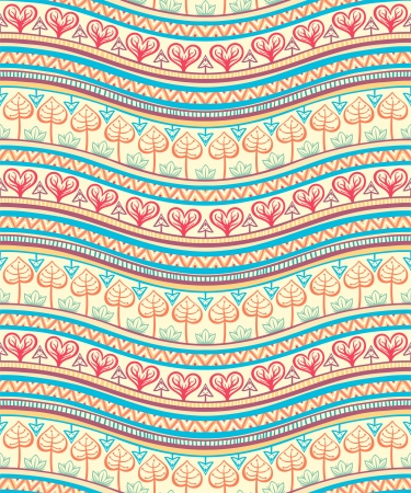 beautiful tribal striped pink and blue ornament on a yellow background Vector