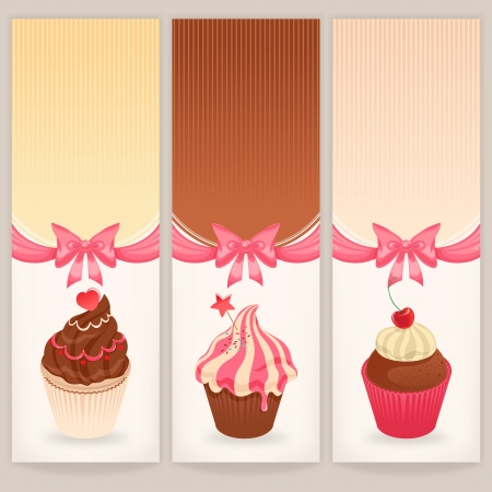 Set of three banners with cute cakes and place for text Vector