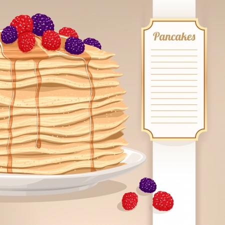 stack of pancakes with maple syrup and berries and place for text Vector