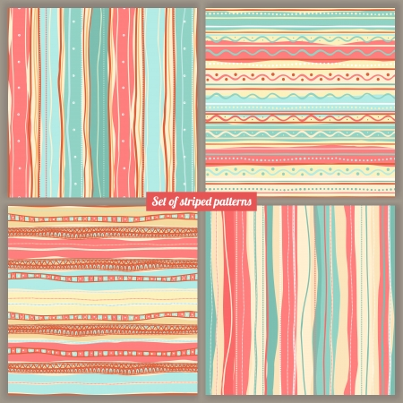 Set of four striped colored backgrounds Vector