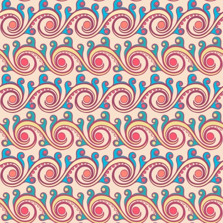 beautiful turquoise horizontal pattern with purple swirls on a beige background Vector