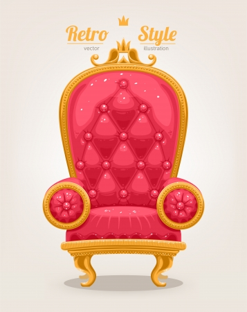 beautiful retro pink armchair with gold trim Vector
