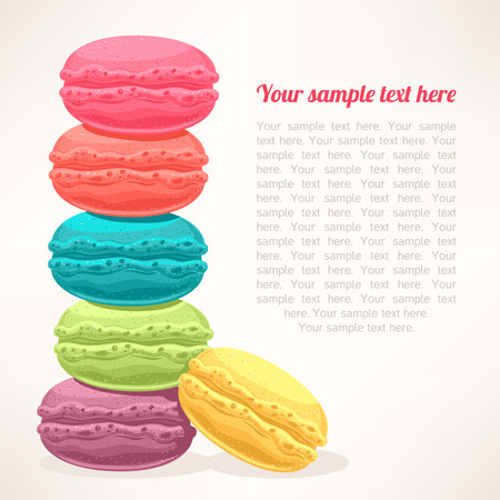 Feingeb�ck: niedlich Hintergrund mit einem Haufen von bunten Macarons und Platz f�r Text Illustration