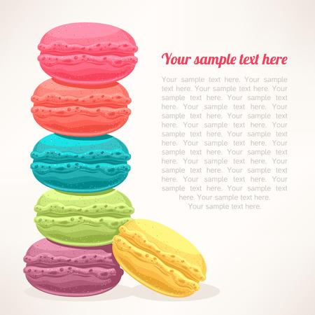 patisserie: sfondo carino con un mucchio di macarons colorati e luogo per il testo Vettoriali