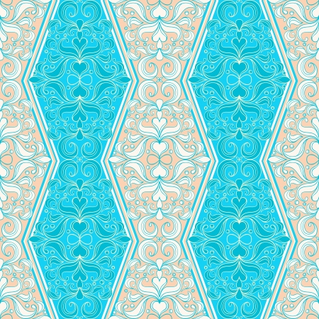 beautiful natural seamless vintage blue and beige pattern  Vector