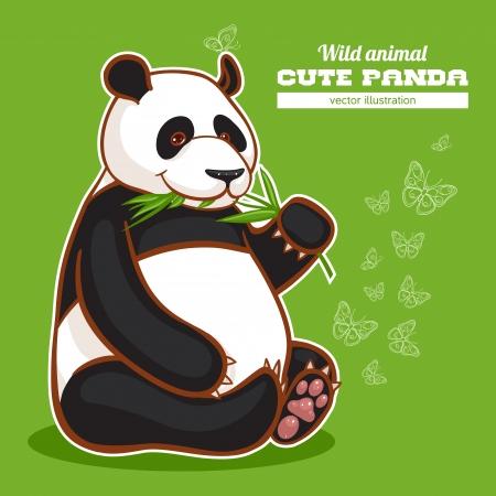 eats: cute panda eats twig of bamboo on green with butterflies