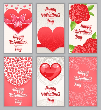 Set of six small vertical cute greeting cards for Valentine Vector