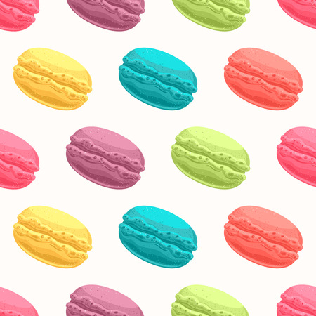 patisserie: seamless pattern with cute colored macaroons Illustration