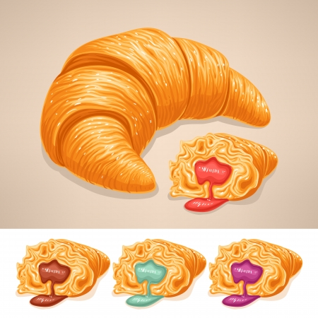 fillings: delicious croissant with different colored fillings
