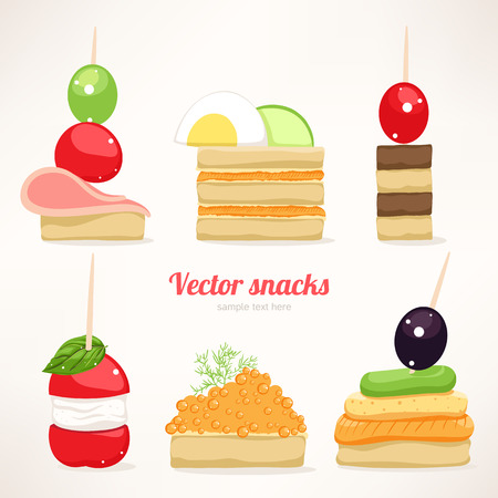 Set of six kinds of festive snacks  canapes