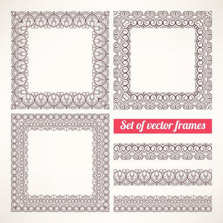 Set of three beautiful brown patterned frames Vector