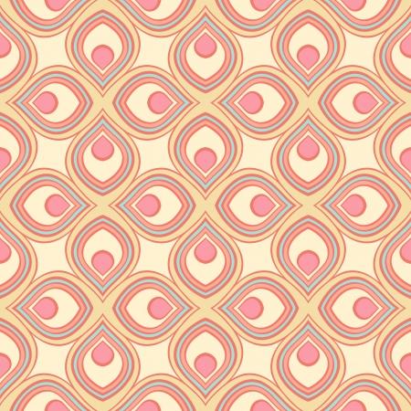 ピンクと黄色の様式化された花弁と美しいレトロな幾何学模様  イラスト・ベクター素材
