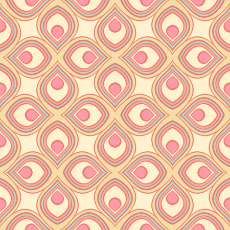 decorative pattern: beautiful retro geometric pattern with pink and yellow stylized petals