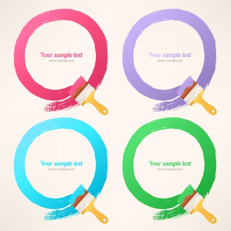 leaving: four colorful paint brushes leaving a round trail Illustration