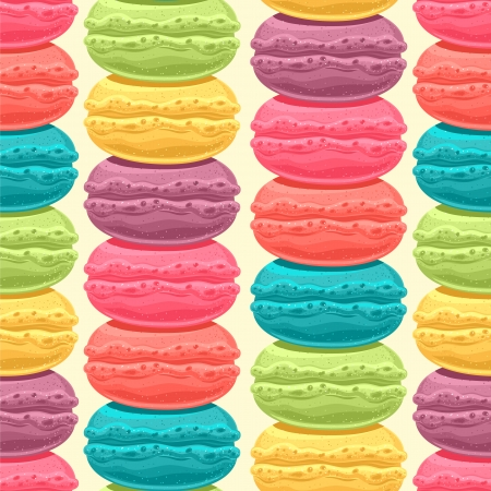 seamless pattern with stacks of cute colored macaroons