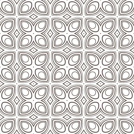 simple geometry: beautiful retro geometric pattern with brown stylized flowers