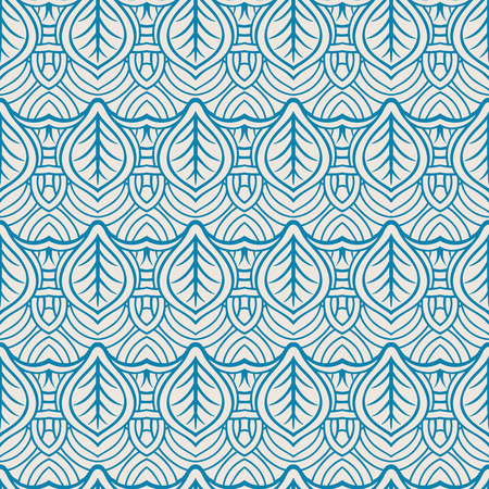 beautiful abstract seamless natural retro pattern with blue leaves on a beige background Vector