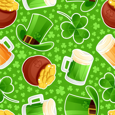beautiful seamless green background with mugs of beer and golden coins for St  Patrick Stock Vector - 25635187